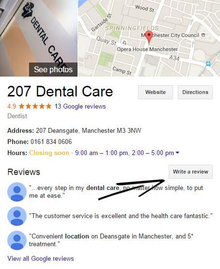 207 dental care google review